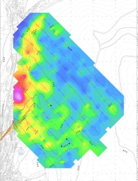 Mapa znečistenia pôdy ortuťou. Zistené pomocou merania obsahu Hg v pôdnom vzduchu. Merané vysoko citlivým prístrojom LUMEX RA-915.