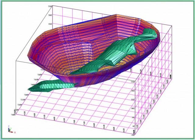 3D model znázorňujúci litologickú vrstvu v 3d priestore.