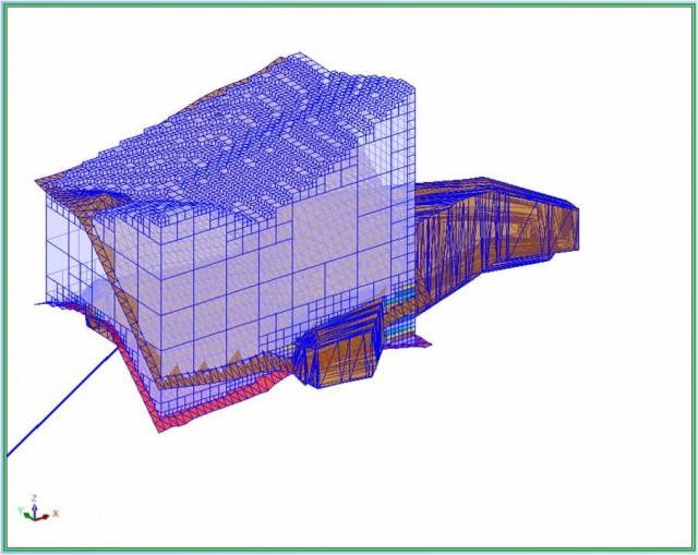 Blokový 3D model znázorňujúci distribúciu úžitkovej zložky v 3d priestore.